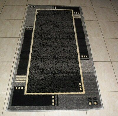 New Black/grey Modern Floor Hallway Runner Rug 80X150