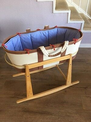 Serena and Lily Sausalito Moses Basket / Bassinet with Wooden Rocking Stand