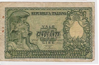 (NI-203) 1951 Italy 50 lire bank note (C)