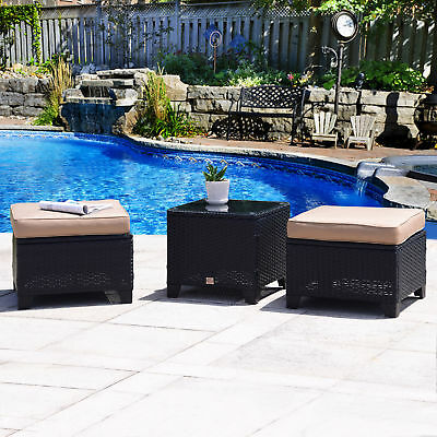 3 PC Outdoor Patio Rattan Garden Wicker Ottoman Set Seat with Glass Coffee Table
