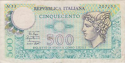 (NI-206) 1966 Italy 500 lire bank note (F)