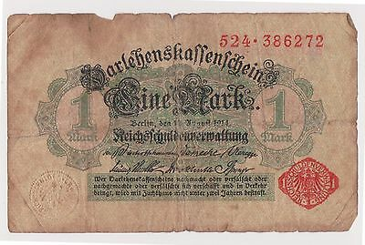 (NI-95) 1914 Germany 1 mark bank note (F)