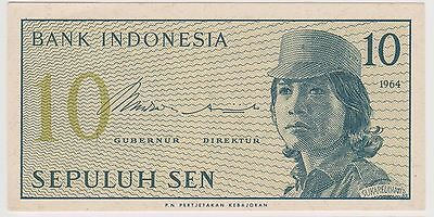 (NI-156) 1964 Indonesia 10 Sen bank note (B)