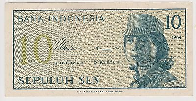 (NI-157) 1964 Indonesia 10 Sen bank note (C)