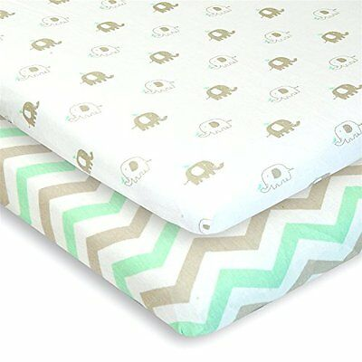 Cuddly Cubs Pack n Play Playard Sheets Set of 2 Jersey Cotton Fitted for Crib &