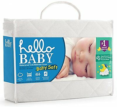 Waterproof Crib Mattress Cover Quilted Ultra Soft White Bamboo Terry Sheets Set