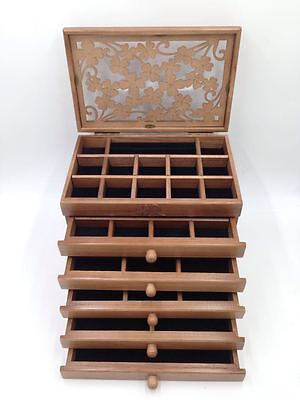 6 Layers Extra Large Wooden Jewellery Gift Carved Storage Box Watch Case