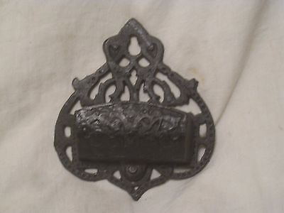 ornate cast iron metal small wall decor match holder ? shelf antique ?