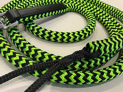 Horse Lead Rope - Double Braid Polyester Green/Black Solid Stainless Steel Snap