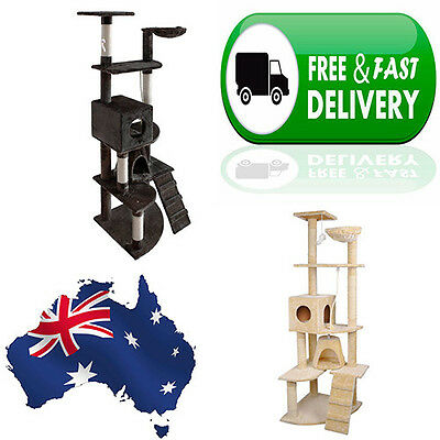 Large 193cm Tall Cat Tower  Tree Scratching Post Ladder Condo Mouse