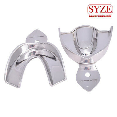 Dental Solid Stainless Steel Large Upper and Lower Impression Trays Set of 2Pcs