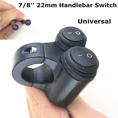 Dual 22mm 7/8in Handle Bar Rocker Switch On/Off High Low Light Switch Waterproof
