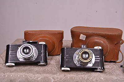 Lot of 2 Art Deco Vintage Argus 35mm Camera's w/ Cases - Working