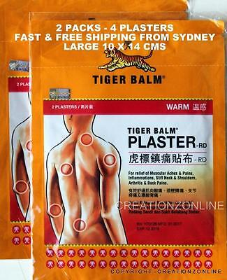 Warm - Tiger Balm Plaster Patch 4 Plasters Large Size - 10 X 14 Cms Sydney Stock