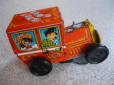 Vintage Tin Toy Wind up Clippity Clop Car Made in Japan