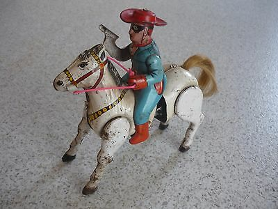 Vintage Tin Toy Wind up Lone Ranger on Horseback, made in Japan
