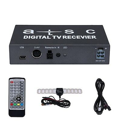 Car ATSC Digital TV Receiver DTV box + Car Radio FM Antenna Signal Amplifier Set