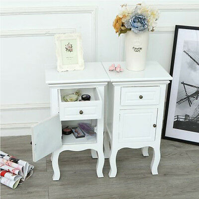 Panana French Vintage White Bedside Table Cabinet Chest of Drawer Nightstand