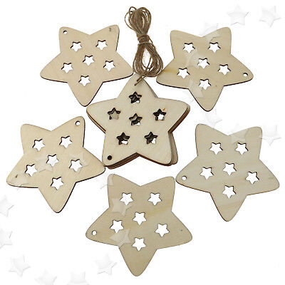 10 pcs Wooden Christmas Xmas Tree Hanging  Decorations  Gift  Star