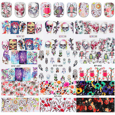 10Sheets Nail Art Water Transfer Stickers Manicure Decals Lot Skull Flowers DIY