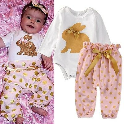 Newborn Baby Girls Hairband+Long Sleeve Rompers Jumpsuit+Pants Outfits 3pcs Set