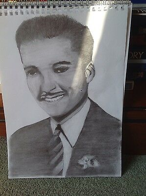 A4 size original drawing of Errol Flynn signed