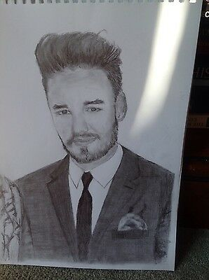 A4 drawing original of Liam Payne in fine graphite