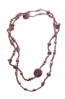Tribal territory- red terracotta wooden beads embellished long necklace(ZX269)