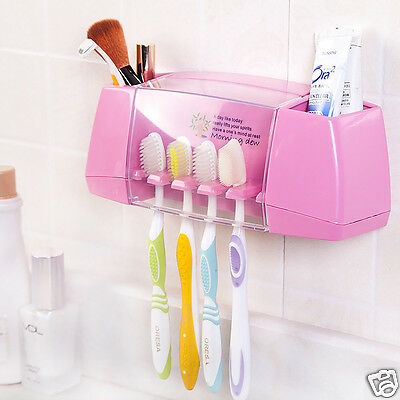 Plastic Multi-use Suction Up Wall Mounted Toothbrush Holder for Bathroom Gadget