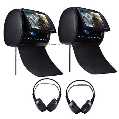 "2X 9"" Black Active Car Pillow Video Headrest Monitor DVD Player Game+ Headphones"