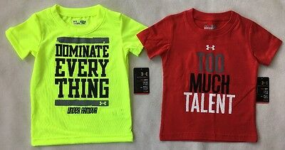 LOT OF 2 UNDER ARMOUR Baby Boy Shirt Graphic T-shirt Short Sleeve NWT 12 MONTHS