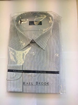 Brand New Rael Brook Shirt Grey  With White Stripe Size 17.5