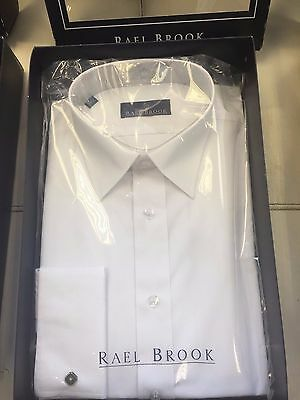 Brand New Mens Day Shirt By Rael Brook  White Double Cuff 16 1/2 Neck