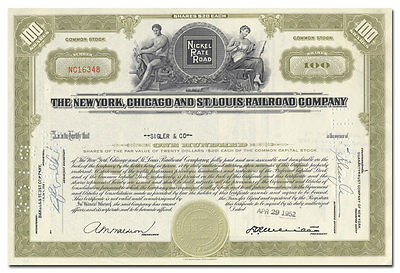 New York, Chicago and St. Louis Railroad Company Stock Certificate