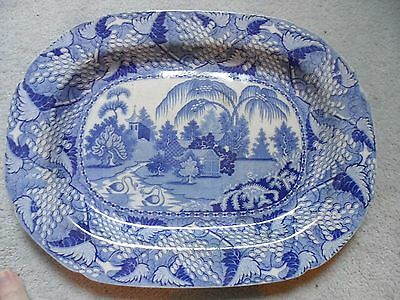 """blue and white platter plate Victorian inc palms great condition19"""" 47cm"""