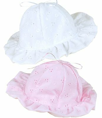 BabyPrem Baby Girls Traditional Summer Hat Sun Hats Pink White 0-3 3-6 mths