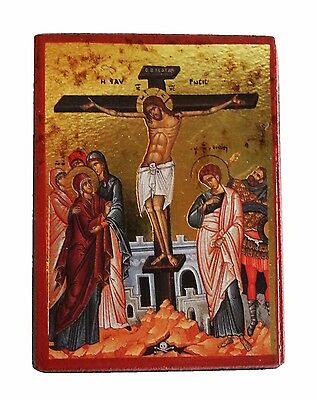 Greek Russian Orthodox Lithography Icon Crucifixion of Christ 9x7cm