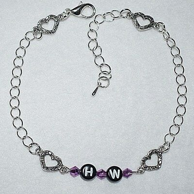 Unique HW = Hotwife Purple Crystal Love Hearts Anklet Ankle Bracelet Select Size