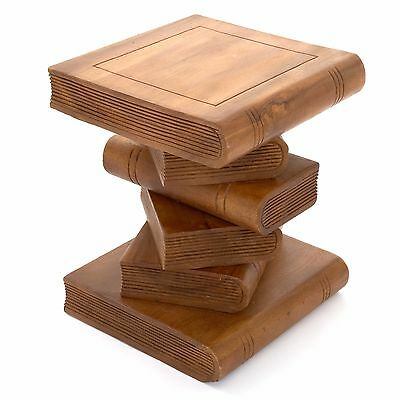 Rustic Fair Trade Wooden Book Stack Side Table - WAXED - FU-418-S-WA