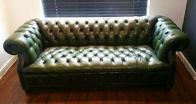Chesterfield 3 seat sofa.  Rare Buttoned Seat.
