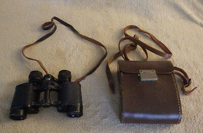 H.V. Lement Binoculars Vintage Black with Brown Case 8 x 25 See Photo's