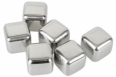 Stainless Steel Wine Cooler Stones Ice Cube Whiskey Whisky Rocks Set of 6