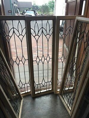 Sg 1430 1 Available 4 sold Antique Leaded Glass Vertical Window 12.5 X 38.5