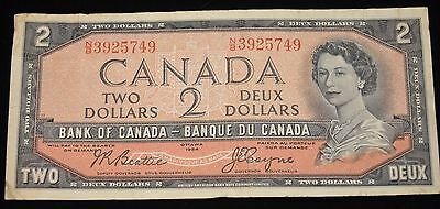 1954 (2) and 1973 (1) CANADIAN Currency (2-$1 bills *1 Devil Face) (1-$2 bill)