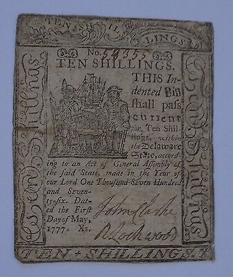 Original 1777 Delaware 10s Ten Shilling Colonial Currency Note