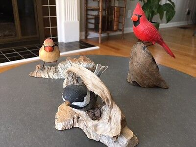Three Vintage Hand carved Birds on branches/Carninals and Chickadee/Folk Art