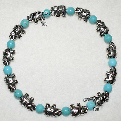 Unique Turquoise Gemstone Elephant Parade Elasticated Ankle Bracelet Anklet