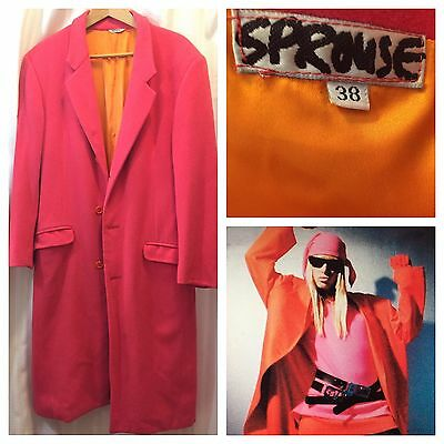 STEPHEN SPROUSE Wool DAY GLO PINK Wool Winter Coat 38 Vintage Mens Unisex