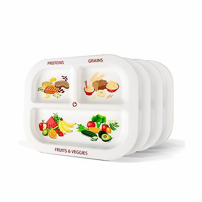 Healthy Habits Divided Kids Portion Plate 4-Pack 3 Fun & Balanced Sections fo...