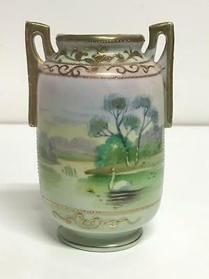 NAGOYA SNB Hand-Painted JAPANESE VASE with Swan and Gold Moriage Beading